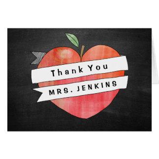 Teacher Appreciation Apple Heart Thank You Card