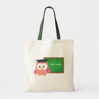 Teacher Appreciation Day, Cute Pink Owl Budget Tote Bag