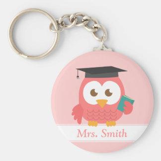 Teacher Appreciation, Pink Owl Basic Round Button Key Ring