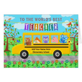 Teacher Appreciation Thank You   Cute Bus Animals Card