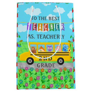 Teacher Appreciation Thank You | Cute Bus Animals Medium Gift Bag