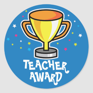 Teacher award classic round sticker