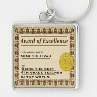 Teacher Award of Excellence Certificate Key Chain