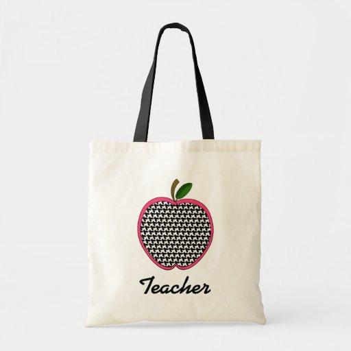 Teacher Bag- Houndstooth Apple With Pink Trim