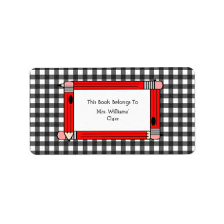 Teacher Bookplate - Gray Gingham & Red Pencils Label
