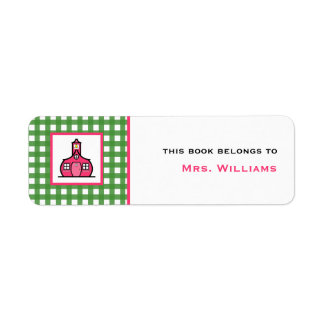 Teacher Bookplate - Green Gingham Return Address Label