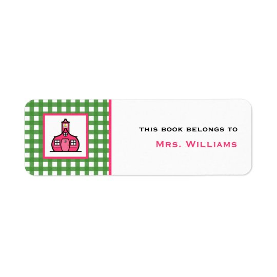 Teacher Bookplate - Green Gingham Return Address Label