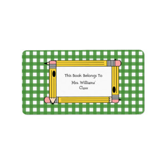 Teacher Bookplate - Green Gingham & Yellow Pencils Label
