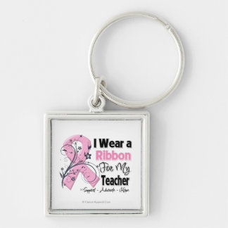 Teacher - Breast Cancer Pink Ribbon Silver-Colored Square Key Ring