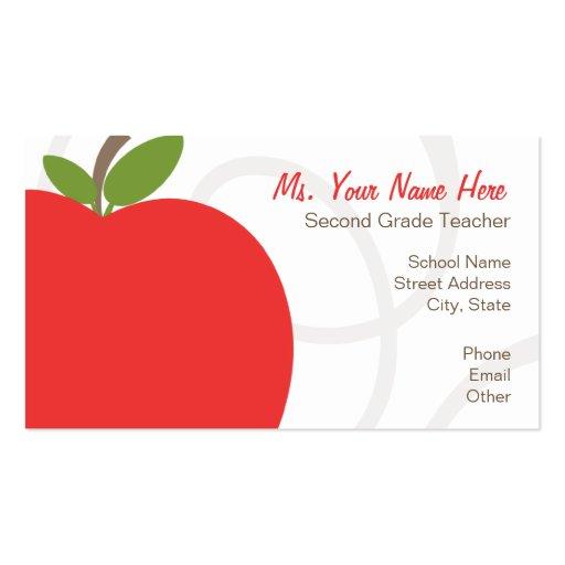 Teacher Business Card Oversized Bright Red Apple