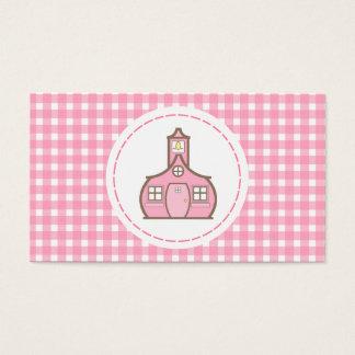 Teacher Business Card - Pink Gingham