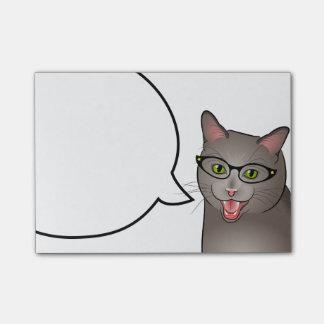 Teacher Cat Post it Notes Geek Hipster Kitty