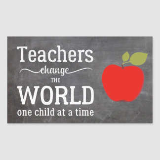 Teacher chalkboard red apple typography quote rectangular sticker