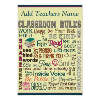 Teacher Class Room Rule Add Name Poster