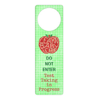 Teacher Classroom Testing Do Not Enter Funny Apple Door Knob Hanger