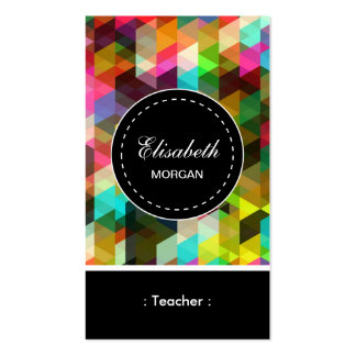 Teacher- Colorful Mosaic Pattern Pack Of Standard Business Cards