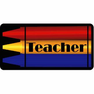 Teacher Crayon Design Pin Photo Sculpture Badge