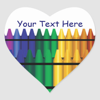 Teacher Crayons Heart Shape Sticker