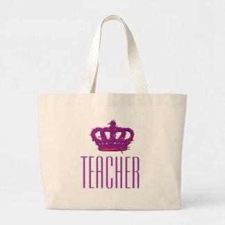 Teacher Crown Jumbo Tote Canvas Bags