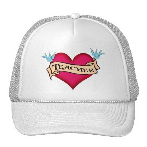 Teacher - Custom Heart Tattoo T-shirts & Gifts Hat