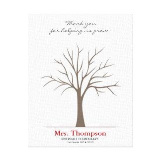 Teacher Fingerprint Tree Canvas Print