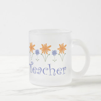 Teacher Gift Flowers Frosted Glass Coffee Mug