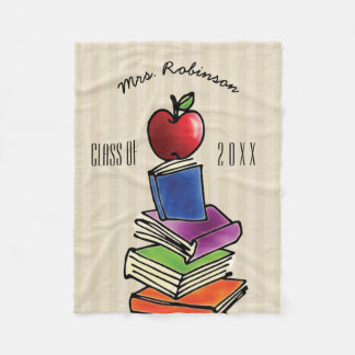 Teacher Gift from Class Apple with Book Stack Fleece Blanket
