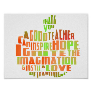 Teacher Gift Poster Typography Quote Apple