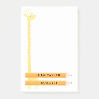 Teacher Giraffe Personalized Post It Notes