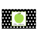 Teacher Green Apple Black With White Polka Dots Business Card Templates