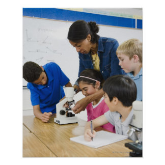 Teacher helping students use microscope in poster