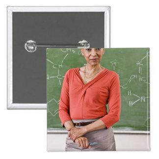 Teacher in front of chalkboard pinback buttons