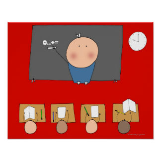 Teacher in front of classroom, elevated view poster