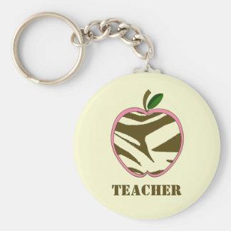 Teacher Keychain - Brown Zebra Print Apple