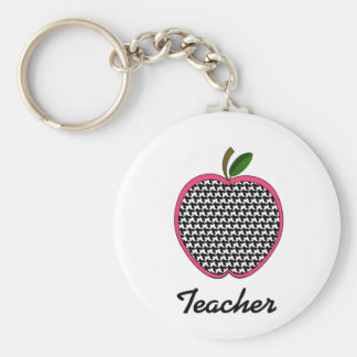 Teacher Keychain- Houndstooth Apple With Pink Trim Key Ring