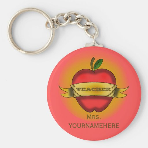 Teacher Keychain- Vintage Apple Tattoo