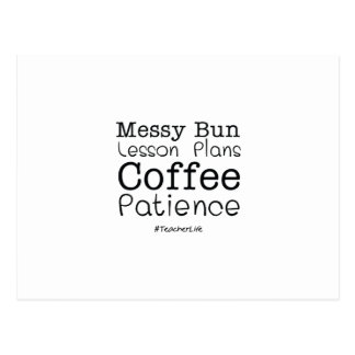 Teacher Life Lesson Plans Coffee Patience Funny Postcard