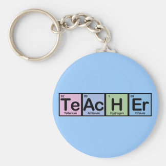 Teacher made of Elements Basic Round Button Key Ring