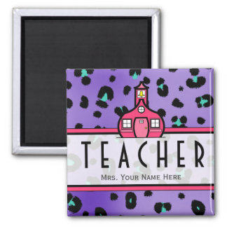 Teacher Magnet - Purple Leopard Print