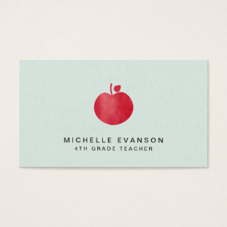 Teacher Mint Green Simple Red Apple Elegant Business Card