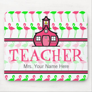 Teacher Mousepad - Pink & Green Flamingo Pattern