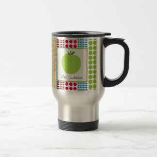 Teacher Mug Green Apple Multicolored Polka Dots