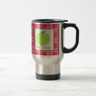 Teacher Mug Green Apple Pink Plaid