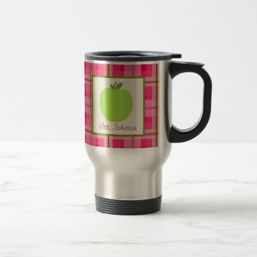 Teacher Mug Green Apple Pink Plaid