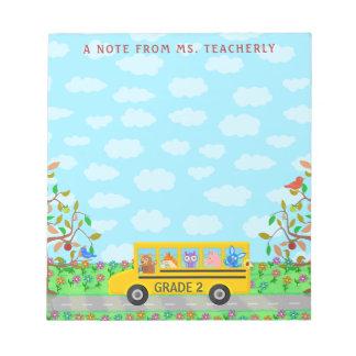 Teacher Name Classroom Notes | Cute Animals on Bus