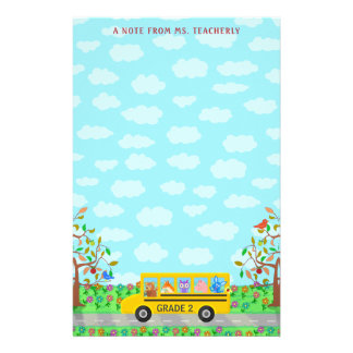 Teacher Name Classroom Notes | Cute Animals on Bus Stationery