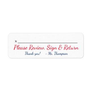 "Teacher Name + ""Please Review, Sign & Return"" Return Address Label"