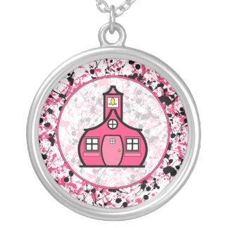 Teacher Necklace - Pink & Black Paint Splatter