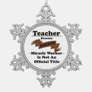 Teacher Pewter Snowflake Decoration