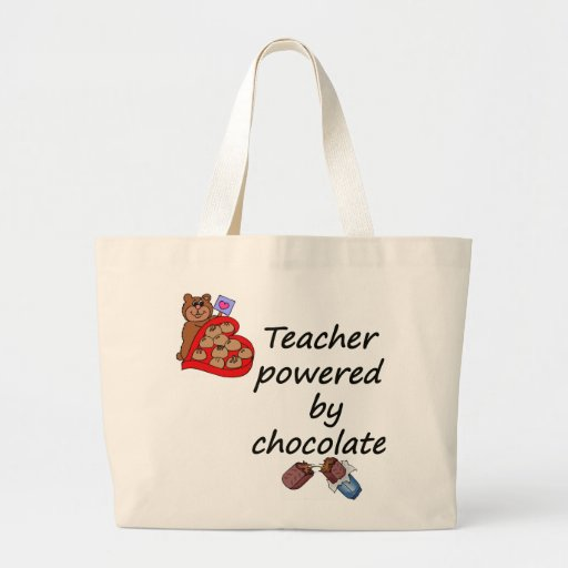 Teacher powered by Chocolate Tote Bags